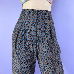 Vintage 80s Pleated Abstract High Waist Trousers